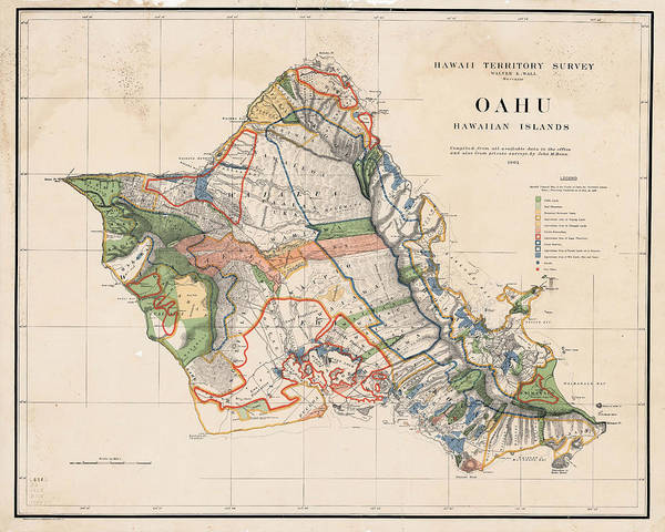 1900s Historical Oahu Map In Color Art Print