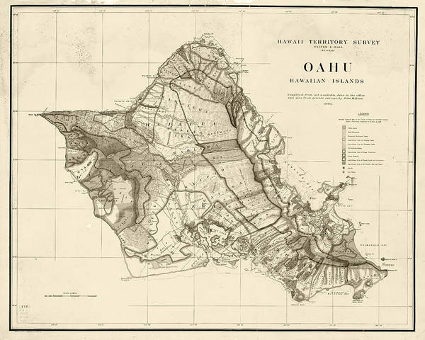 Photograph - 1900s Historical Oahu Map In Sepia by Toby McGuire