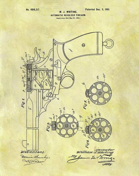 Drawing - 1901 Automatic Revolver Patent by Dan Sproul