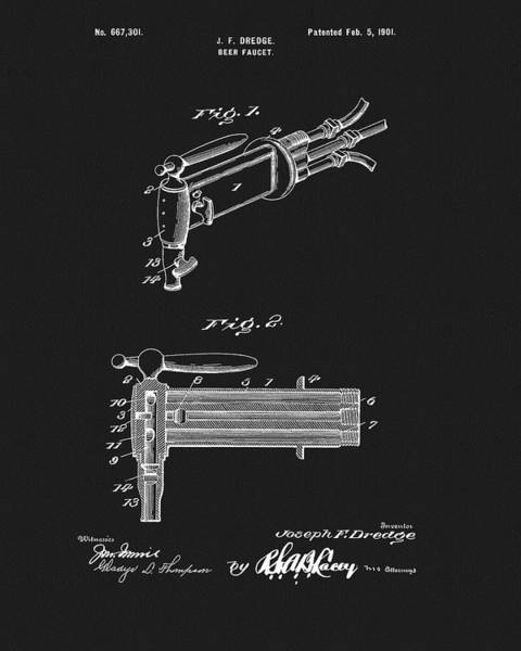 Mixed Media - 1901 Beer Faucet Patent by Dan Sproul