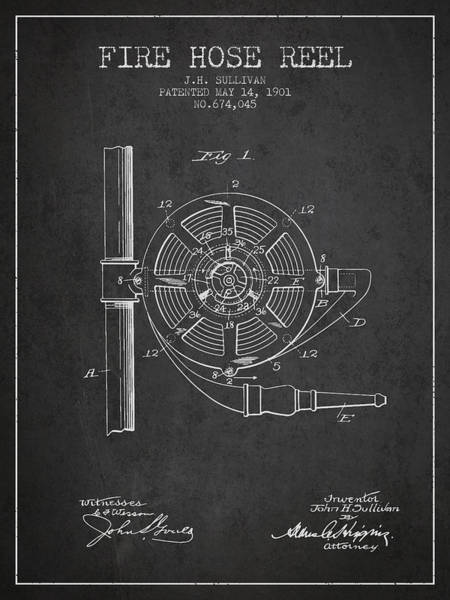 Wall Art - Digital Art - 1901 Fire Hose Reel Patent - Charcoal by Aged Pixel