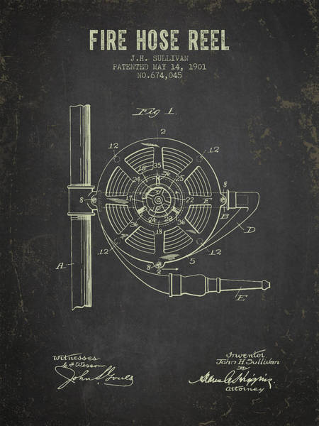 Wall Art - Digital Art - 1901 Fire Hose Reel Patent- Dark Grunge by Aged Pixel