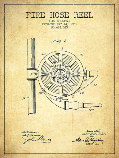 Wall Art - Digital Art - 1901 Fire Hose Reel Patent - Vintage by Aged Pixel