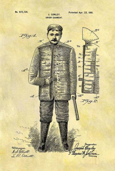 Target Drawing - 1901 Hunting Jacket Patent by Dan Sproul