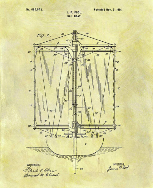 Sailboat Mixed Media - 1901 Sailboat Patent by Dan Sproul