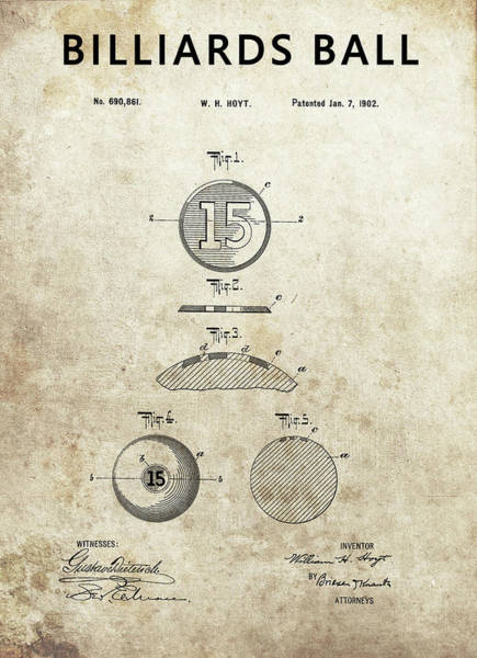 Drawing - 1902 Billiards Ball Patent by Dan Sproul