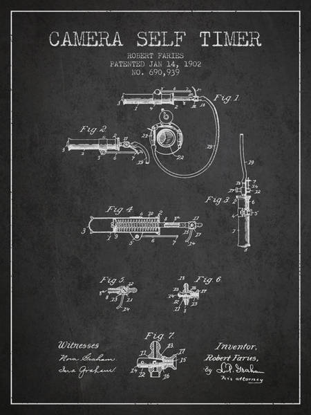 Lens Digital Art - 1902 Camera Self Timer Patent - Charcoal by Aged Pixel