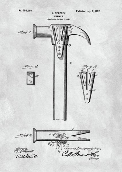 Yourself Drawing - 1902 Claw Hammer Patent Illustration by Dan Sproul