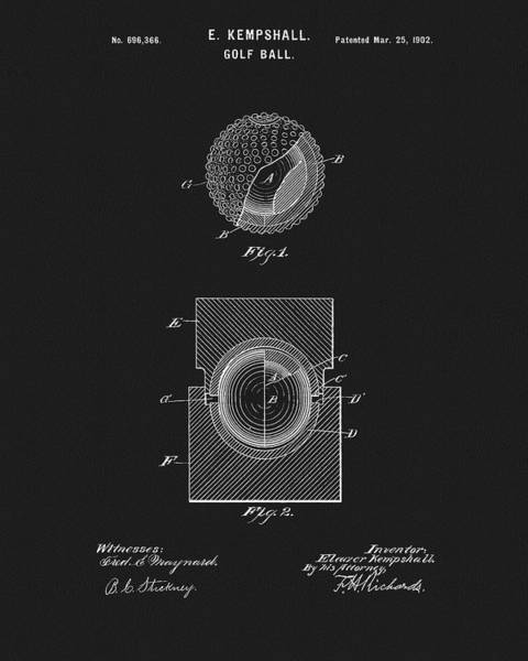 Drawing - 1902 Golf Ball Design by Dan Sproul