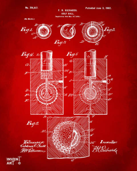 Digital Art - 1902 Golf Ball Patent Artwork Red by Nikki Marie Smith