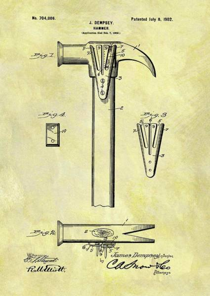 Yourself Drawing - 1902 Hammer Patent by Dan Sproul