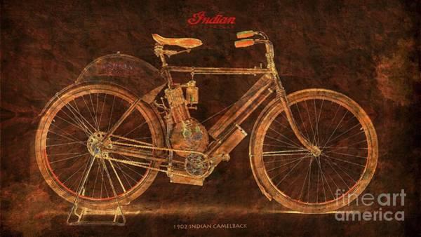 Wall Art - Digital Art - 1902 Indian Camelbak Original Motorcycle Mid Century Bike by Drawspots Illustrations