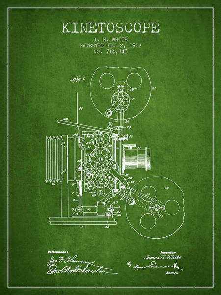 Lens Digital Art - 1902 Kinetoscope Patent - Green by Aged Pixel