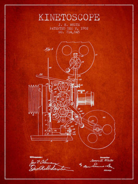 Lens Digital Art - 1902 Kinetoscope Patent - Red by Aged Pixel