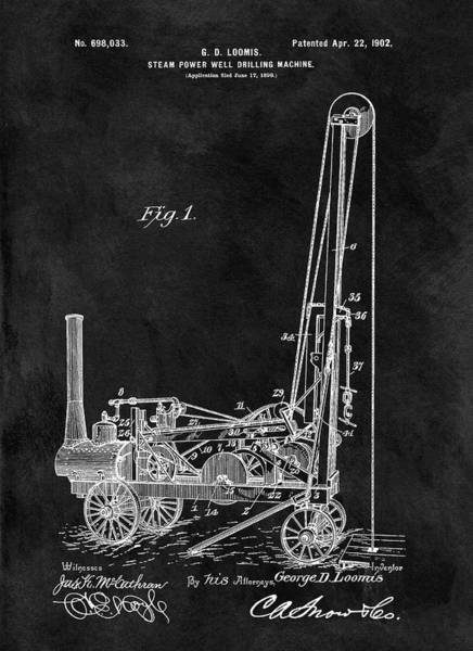 Petroleum Drawing - 1902 Oil Well Patent by Dan Sproul