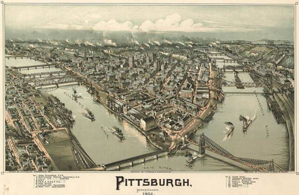 Ohio River Drawing - 1902 Pittsburgh Map by Dan Sproul