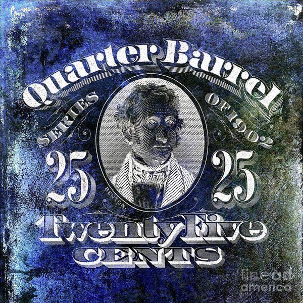 Wall Art - Photograph - 1902 Quarter Beer Barrel Tax Stamp Blue by Jon Neidert