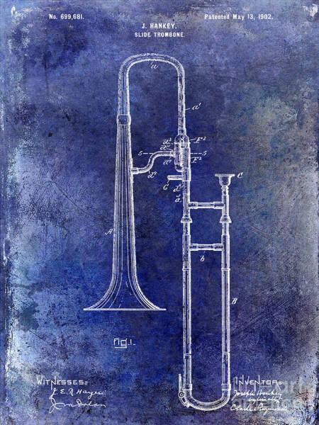 Slide Photograph - 1902 Trombone Patent Blue by Jon Neidert