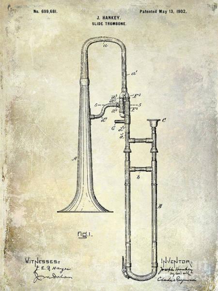 Slide Photograph - 1902 Trombone Patent by Jon Neidert
