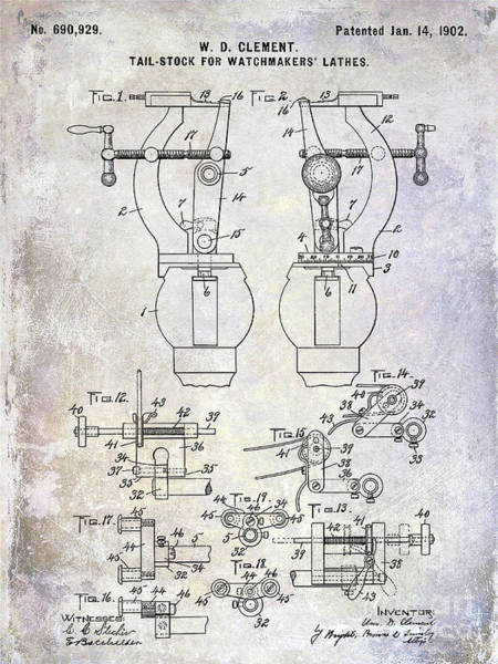 Omega Photograph - 1902 Watchmakers Lathes Patent by Jon Neidert
