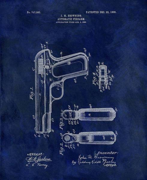 Wall Art - Drawing - 1903 Automatic Firearm Patent by Dan Sproul