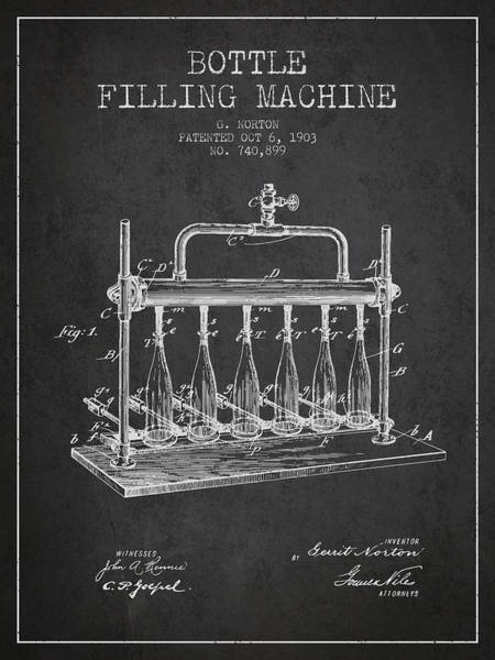 Wall Art - Digital Art - 1903 Bottle Filling Machine Patent - Charcoal by Aged Pixel