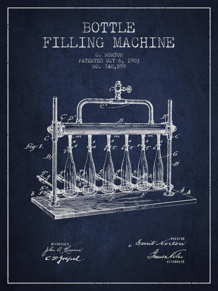 Brewery Digital Art - 1903 Bottle Filling Machine Patent - Navy Blue by Aged Pixel