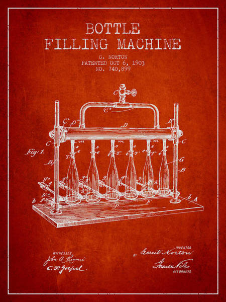 Brewery Digital Art - 1903 Bottle Filling Machine Patent - Red by Aged Pixel