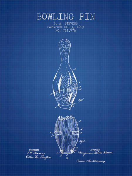 Bowling Ball Wall Art - Digital Art - 1903 Bowling Pin Patent - Blueprint by Aged Pixel
