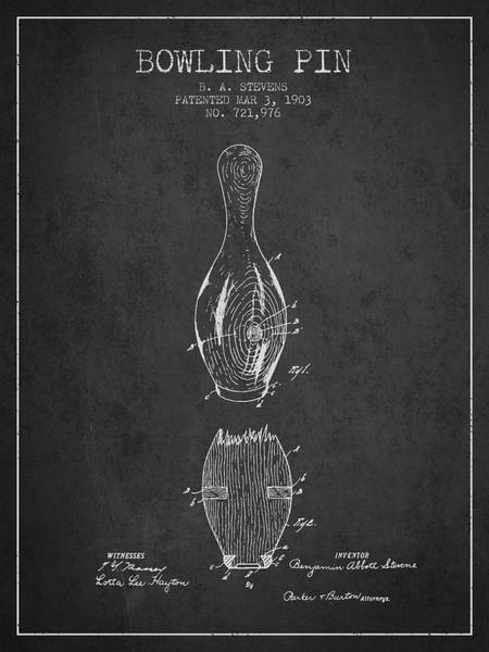 Bowling Ball Wall Art - Digital Art - 1903 Bowling Pin Patent - Charcoal by Aged Pixel