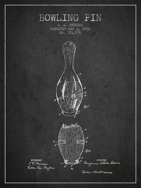 Petanque Wall Art - Digital Art - 1903 Bowling Pin Patent - Charcoal by Aged Pixel