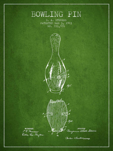 Bowling Ball Wall Art - Digital Art - 1903 Bowling Pin Patent - Green by Aged Pixel