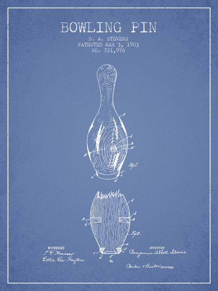 Bowling Ball Wall Art - Digital Art - 1903 Bowling Pin Patent - Light Blue by Aged Pixel