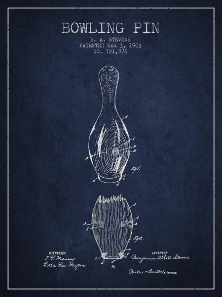 Bowling Ball Wall Art - Digital Art - 1903 Bowling Pin Patent - Navy Blue by Aged Pixel