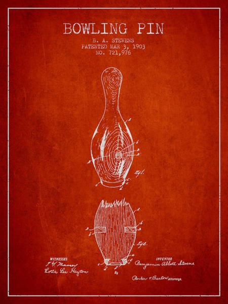 Bowling Ball Wall Art - Digital Art - 1903 Bowling Pin Patent - Red by Aged Pixel