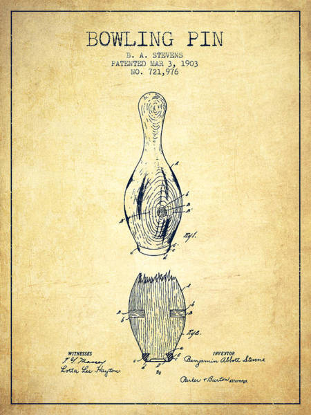 Bowling Ball Wall Art - Digital Art - 1903 Bowling Pin Patent - Vintage by Aged Pixel