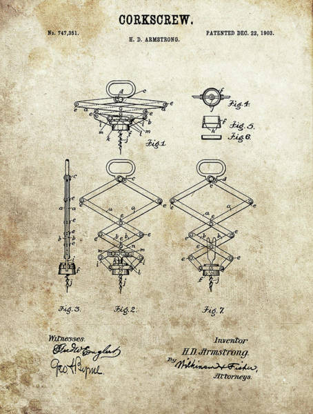 Wall Art - Drawing - 1903 Corkscrew Patent by Dan Sproul