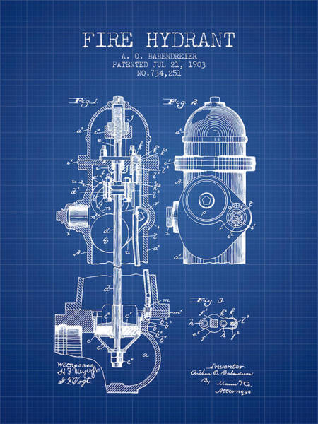 Intellectual Photograph - 1903 Fire Hydrant Patent - Blueprint by Aged Pixel