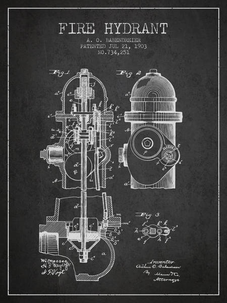 Intellectual Photograph - 1903 Fire Hydrant Patent - Charcoal by Aged Pixel