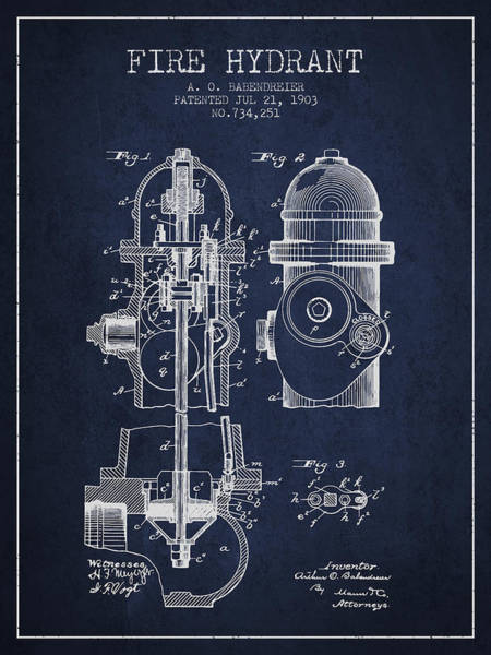 Intellectual Property Wall Art - Digital Art - 1903 Fire Hydrant Patent - Navy Blue by Aged Pixel