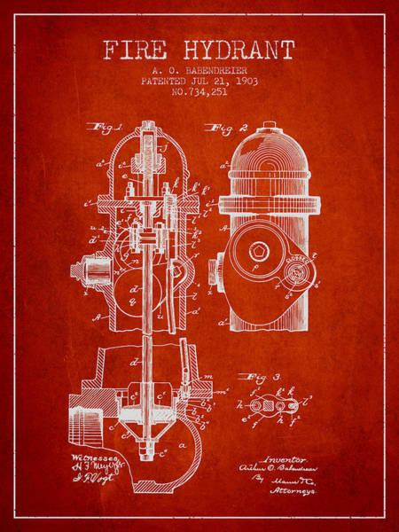 Fireman Wall Art - Digital Art - 1903 Fire Hydrant Patent - Red by Aged Pixel
