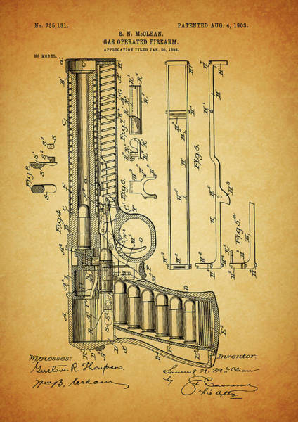 Mixed Media - 1903 Mcclean Pistol by Dan Sproul