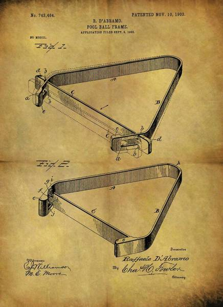 Drawing - 1903 Pool Rack Patent by Dan Sproul