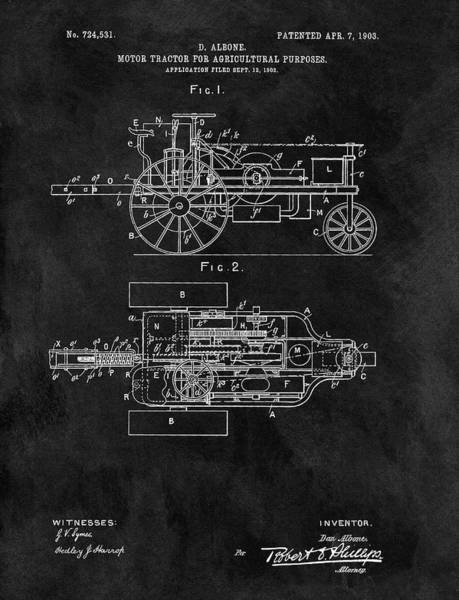 Drawing - 1903 Tractor Blueprint Patent by Dan Sproul