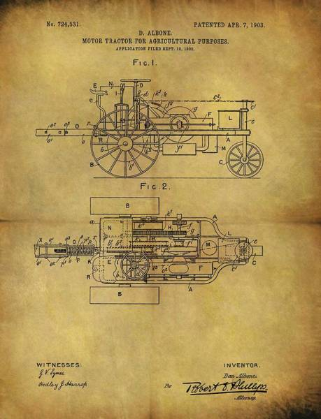 Drawing - 1903 Tractor Patent by Dan Sproul