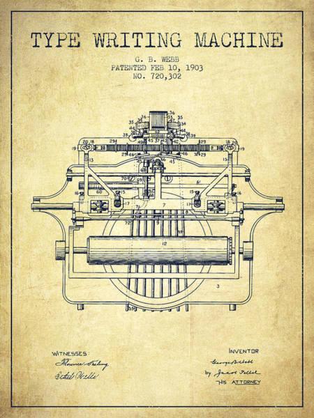 Typewriters Wall Art - Digital Art - 1903 Type Writing Machine Patent - Vintage by Aged Pixel