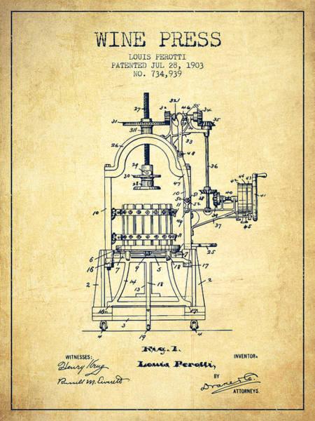 Wine Barrel Wall Art - Digital Art - 1903 Wine Press Patent - Vintage 02 by Aged Pixel