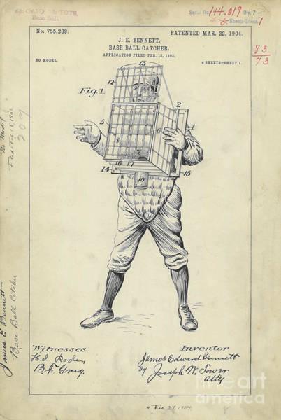 Baseball Bat Patent Wall Art - Photograph - 1904 Baseball Catcher Patent by Jon Neidert