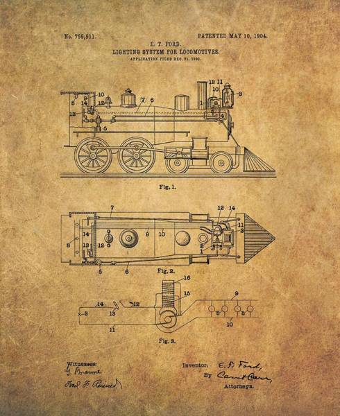 Railroad Station Drawing - 1904 Locomotive Patent by Dan Sproul