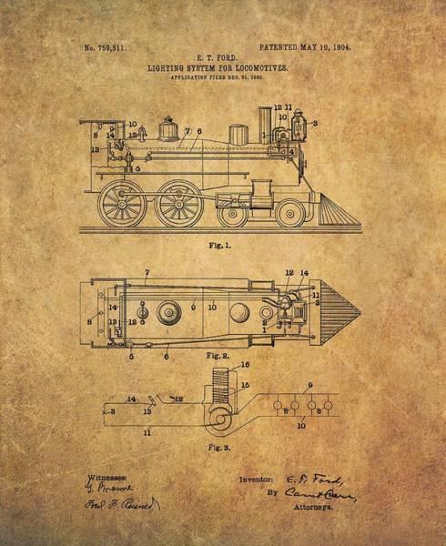 Locomotive Drawing - 1904 Locomotive Patent by Dan Sproul